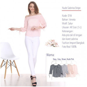 01A NUDE SABRINA STRIPE TOP