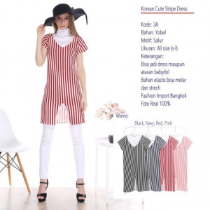 03A KOREAN CUTE STRIPE DRESS